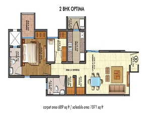 Lodha Palava Floor Plan 2 BHK Optima