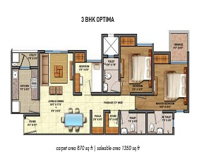 Lodha Palava 1 BHK Floor Plan